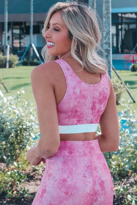 Pink Snakeskin Print Bra Top and High Waist Legging Sports Wear