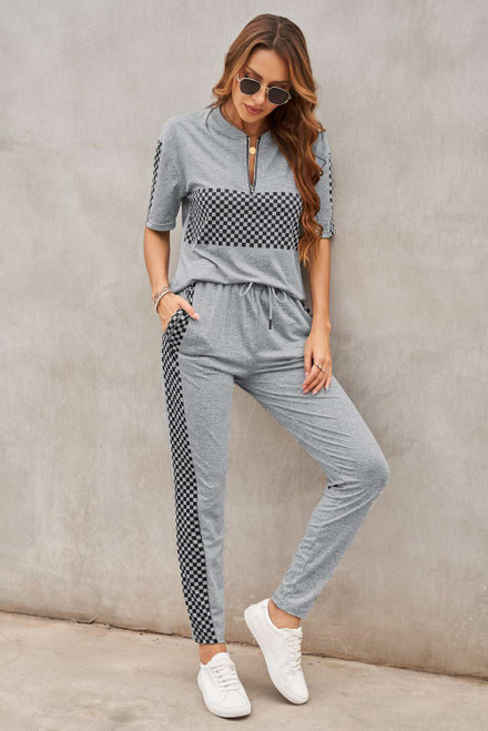 Gray Plaid Splicing Short Sleeve Top and Elastic Waist Pants Set