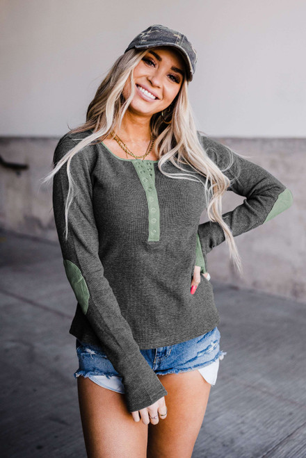 Contrast Elbow Patch Gray Long Sleeve Top