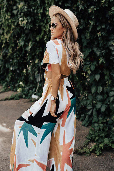 Tropical Print Crop Top and Flare Wide Leg Pants Set