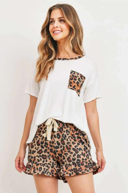 White Top Leopard Pocket and Short Lounge Set