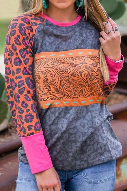 Western Tribal Print Patchwork Long Sleeves Top