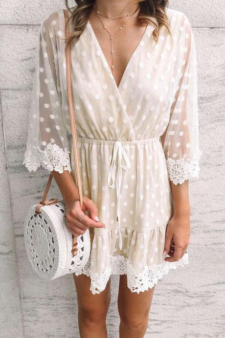 White Wrap V Neck Elastic Waist Polka Dot Mesh Lace Splicing Dress