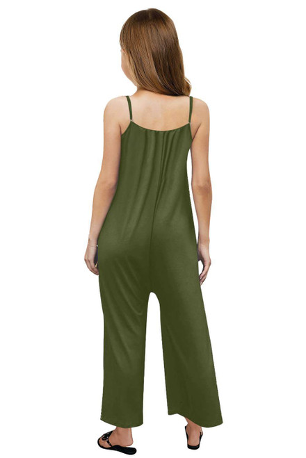 Green Spaghetti Strap Wide Leg Girl's Jumpsuit with Pocket