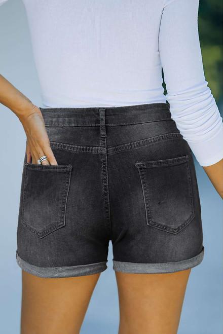 Black High Rise Cuffed Denim Shorts