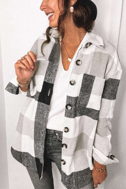 Gray Plaid Color Block Buttoned Long Sleeve Jacket with Pocket