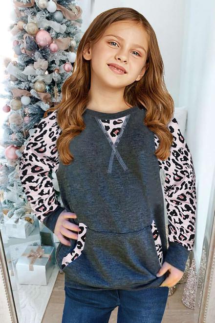 Leopard Raglan Sleeve Patchwork Little Girl Sweatshirt