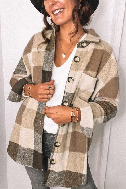 Khaki Plaid Color Block Buttoned Long Sleeve Jacket with Pocket