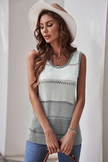 Gray Color Block Knitted Tank Top