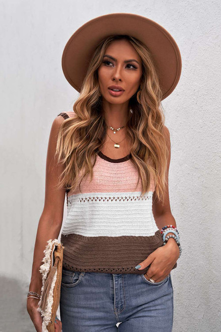 Brown Color Block Knitted Tank Top