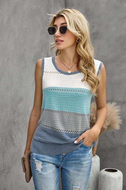 Sky Blue Color Block Knitted Tank Top