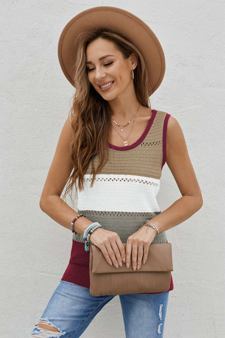 Burgundy Color Block Knitted Tank Top