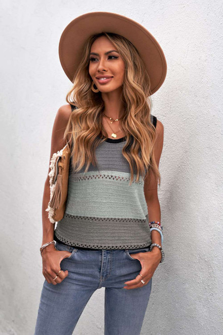 Charcoal Color Block Knitted Tank Top