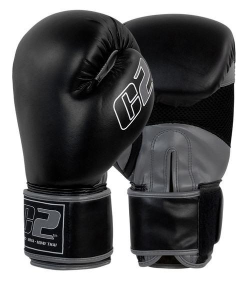 C2 Black and Grey Boxing Gloves with XtraFresh - Combat Corner