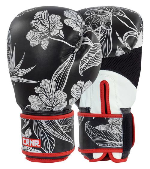 Black Flower Power Boxing Gloves, Flower Boxing Gloves, Combat Corner Boxing Gloves