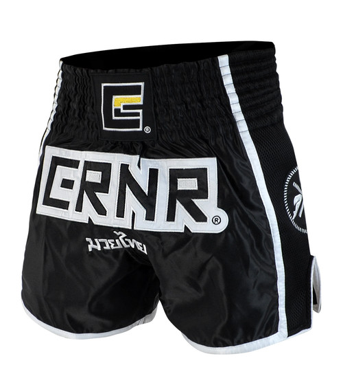 Black/White CRNR Muay Thai Shorts