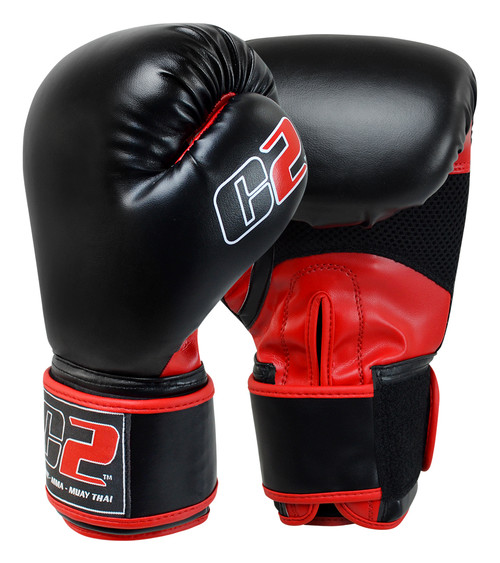 C2 Black and Red Boxing Gloves with XtraFresh - Combat Corner