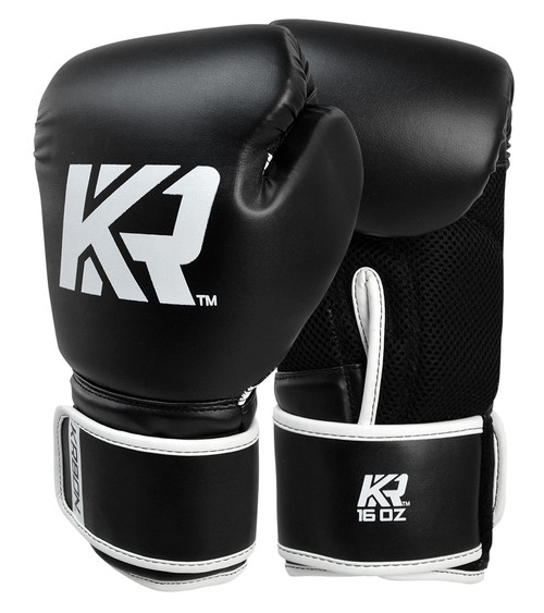 KRBON Boxing Gloves w/ FREE Wraps Black|White