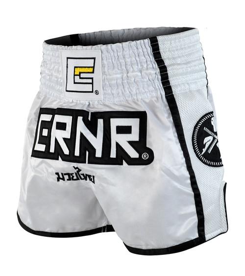 White/Black CRNR Muay Thai Shorts