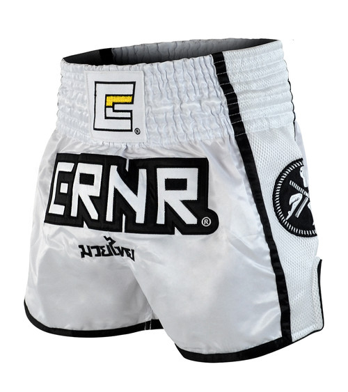 White/Black CRNR Muay Thai Shorts