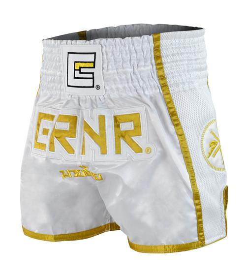 White/Gold CRNR Muay Thai Shorts