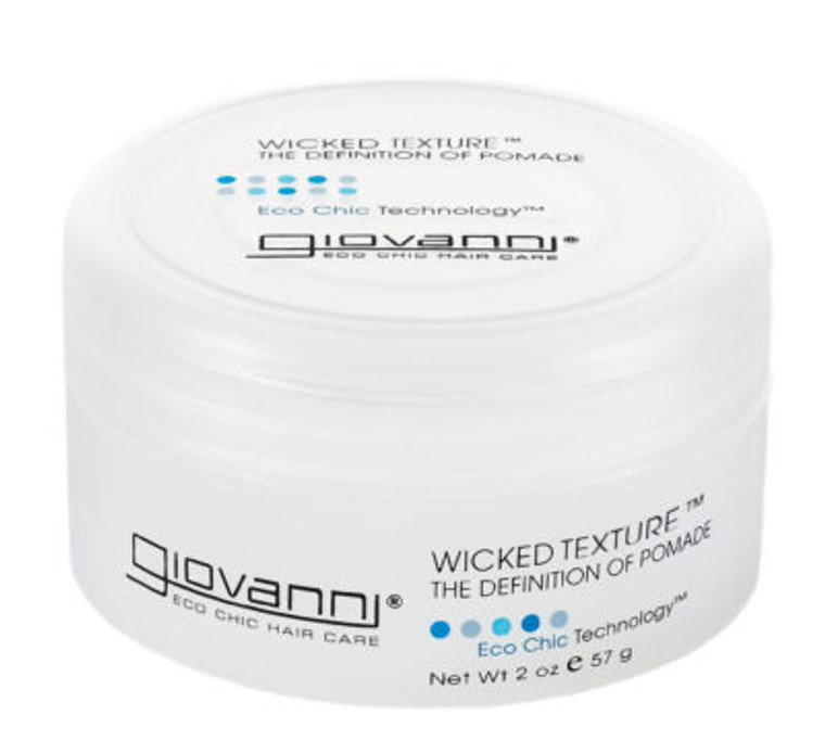 It's a brilliant disguise Add wicked separation Style hair to the max Define with shine Color-Safe Vegan Friendly PRODUCT DESCRIPTION  Wax it. Style it. Define it. For a wicked look. Washes out easily unlike oil-based pomades and won's strip the natural oils from your hair.  This pomade will not dull, strip color, or damage your hair. It's color-safe, paraben-free, and cruelty-free. Look in the Ingredients tab for a listing of USDA certified organic ingredients.  Giovanni hair care…bridging the gap between natural and salon quality.