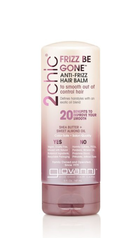 PRODUCT DESCRIPTION  Frizz Be Still. Frizz Be Gone™. Frizz Decoded. Improve your smooth with organic essential oils that know how to tame your mane. Caress locks with the smoothing elements of Shea Butter and Almond Oil.  This anti-frizz hair balm is formulated with Shea Butter and Sweet Almond Oil. It will not dull, strip color, or damage your hair. It's 100% color-safe, paraben-free, and cruelty-free.  Giovanni hair care…bridging the gap between natural and salon quality.  Medium Hold Alleviates Frizz Maximum Style Control Smooths Strands Glamorous Shine Heat-Styling Protection Distributes Easily Defines Waves & Curls Adds Texture Restricts Breakage Long-Lasting Soft Finish Non-greasy Polishes Strands Color-Safe Refines Style Withstands Humidity Disciplines Flyaways Controls Static Silkens Tresses
