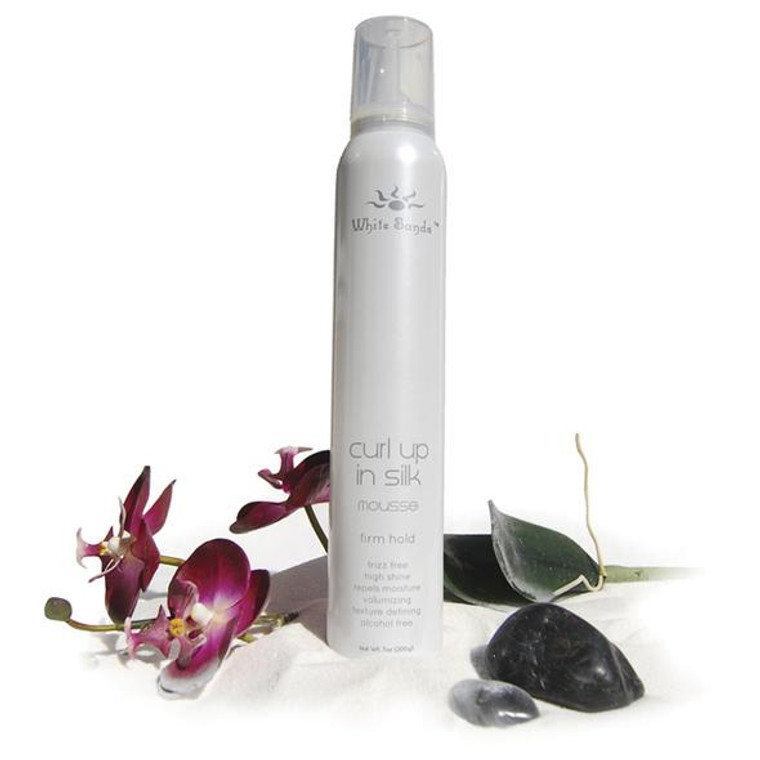 Curls are back! White Sands Curl Up in Silk Firm Hold Mousse provides a different type of curl pattern. The chemical molecular structure of the ingredients causes the hairs to group together and rope over each other. It also can be used for round-brush styling for volume, and it resists moisture for long-lasting styles. Curl Up in Silk has redefined curls and mousses with its ability to change the curl pattern, provide high shine with no flaking, and leave hair silky and soft.