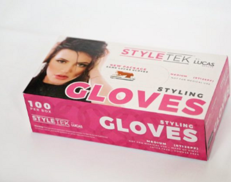 With most conventional, latex salon gloves come inevitable problems, such as the pair of gloves constantly tearing right as you pull them over your hands. This seems to be unavoidable with most brands of gloves, but with LucasBeauty salon gloves, beauticians claim to never have a problem with their gloves tearing, even when they stretch, pull, yank, and but the quality of the glove to the test with intense hair styling projects. LucasBeauty salon gloves are high quality and worthy of belonging in any professional beautician's beauty supply. They're non-latex. Instead, they're made of vinyl, which has a looser fit, is anti-static (great for clients with dry, staticey hair), and is lightly powdered in order to be easily placed on your hand while feeling soft and comfortable. They're disposable, but don't seem like it due to their long-lasting durability. A LucasBeauty Salon Glove may even be able to be reused. Most disposable gloves cannot guarantee quality, but LucasBeauty salon gloves can guarantee it with full confidence. Not only are LucasBeauty salon gloves gentle on the skin of your hands because of its powdery feel, they're also gentle on the hair and scalp of the clients you use the gloves on. Instead of catching and pulling on the hair of your clients, it glides without resistance during coloring and streaking jobs, making the dying experience much more comfortable and stress-free for both the client and you. There is no right or left glove; one glove fits both hands comfortably so you don't have to stumble around searching for a certain glove in the box to fit a specific hand. Each box comes with exactly 100 gloves. You can choose to purchase the gloves in size small, medium, or large, depending on the size of your hands.