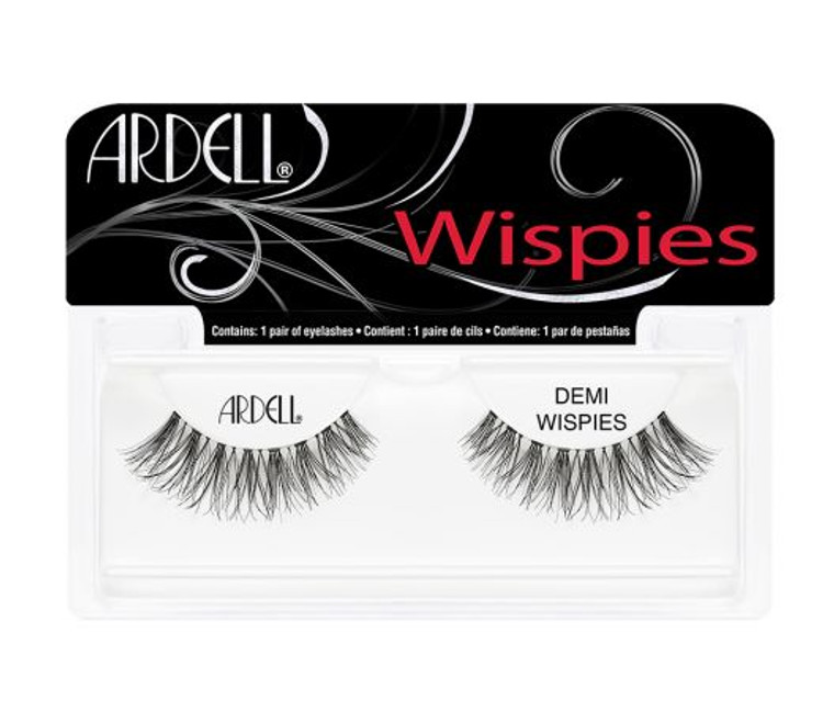 These strip lashes are not extra; they're just right! Get instant intensity with a pretty, natural-looking wispy effect with our Iconic style, Demi Wispies! They're a fan favorite for a reason._  - Medium volume, medium length  - Flared lash style: shorter at the inner corner and longer at the outer corner  - Demi lash: slightly narrower band than a regular strip lash  - Signature Wispies style with crisscross, feathering and curl  - Invisiband® provides an undetectable lash band and the most comfortable wear  - Black