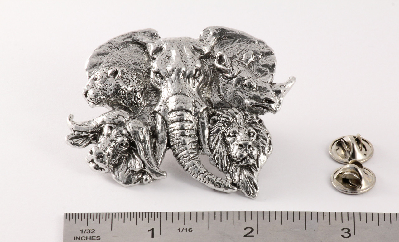 Africa Big 5 Heads Pin Premium Pin, M120PR