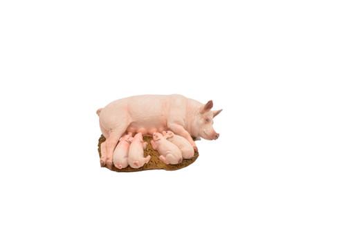 Pig / Sow W/ Piglets Plastic Replica 4-inch - F2023 B136