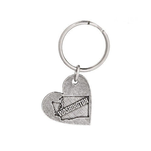 Heart Shape Washington  Pewter Keychain, A1016KC