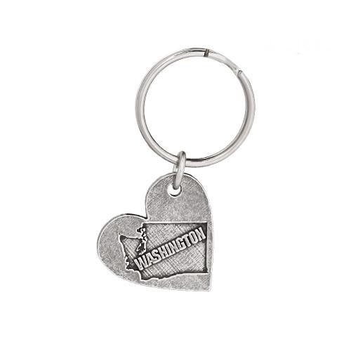Heart Shape Washington  Pewter Keychain, A1016KC