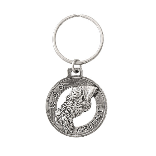 Airedale Pewter Keychain, D002KC