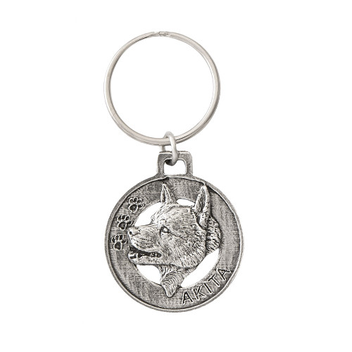 Akita Pewter Keychain, D004KC