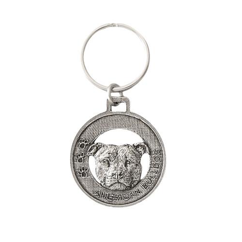 American Bulldog Pewter Keychain, D006KC