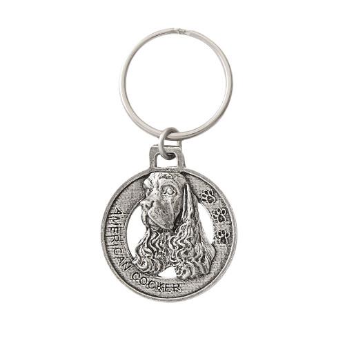 American Cocker Spaniel Pewter Keychain, D008KC