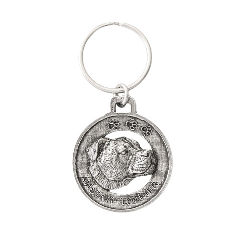 Amstaff Terrier Pewter Keychain, D012KC