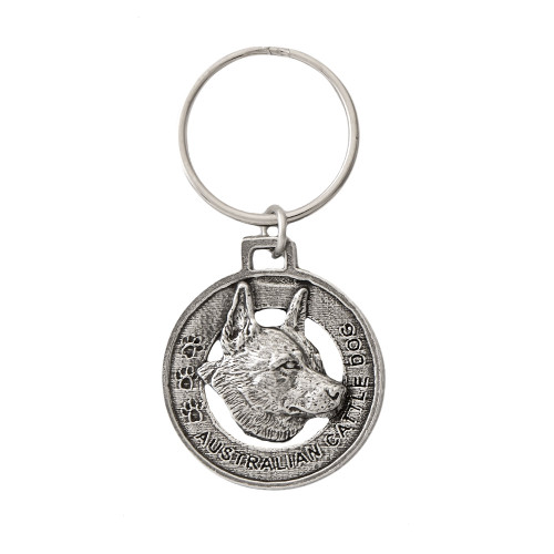 Australian Cattle Dog Pewter Keychain, D014KC
