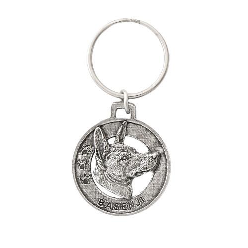 Basenji Pewter Keychain, D018KC