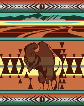 Animals of Yellowstone Series Bison Blanket woven by Pendleton