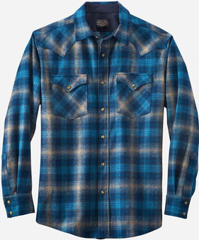 Classic Fit Canyon Western Snap Shirt Taupe Blue Navy Ombre