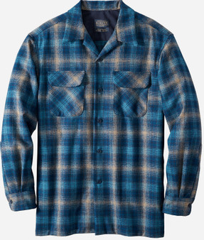 Classic Fit Board Shirt in Taupe Blue Navy Ombre