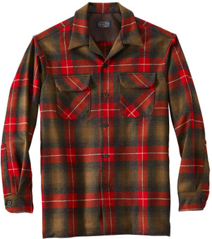 Classic Fit Board Shirt in Brown Oxford Red Plaid