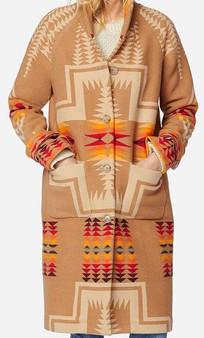 Pendleton 1930's Archive Tan Harding Jacquard Long Coat