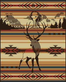 Animals of Yellowstone Series Elk Blanket woven by Pendleton Woolen Mills