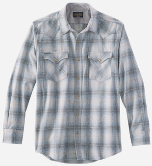 Pendleton Classic Fit Canyon Western Snap Shirt in Grey Blue Ombre Plaid