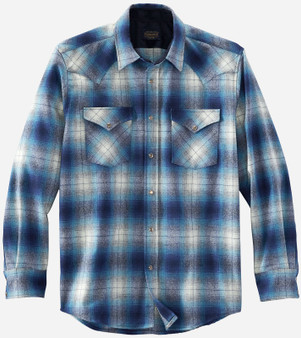 Pendleton Classic Fit Canyon Western Snap Shirt in Blue Navy Ombre Plaid