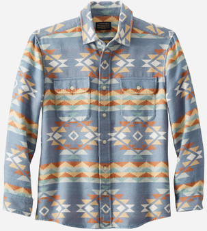 Pendleton Beach Shack Jacquard Blue Green Cotton Shirt
